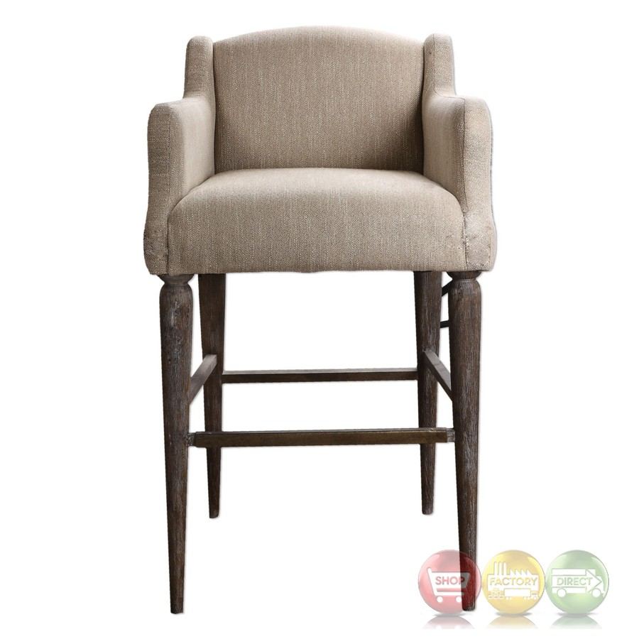 Berke Oatmeal Bar Stool With Curved Arms And Tapered