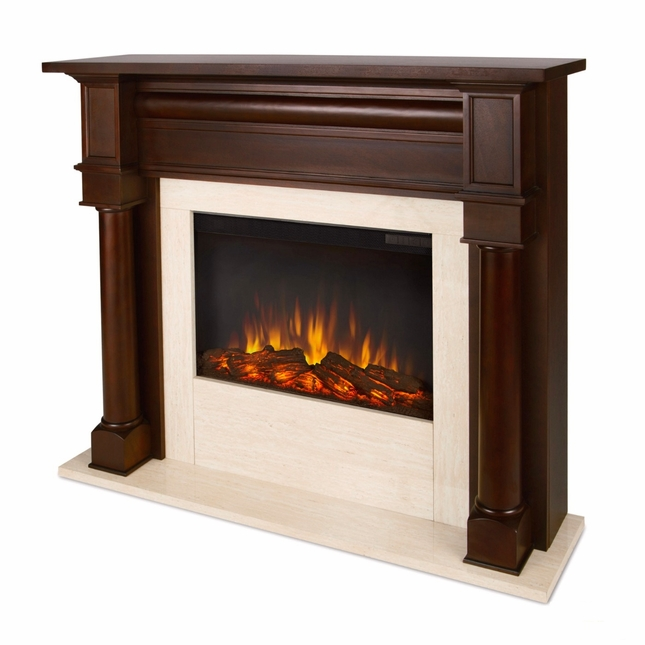 Berkeley Electric LED Heater Fireplace In Dark Walnut, 4700BTU, 47x40