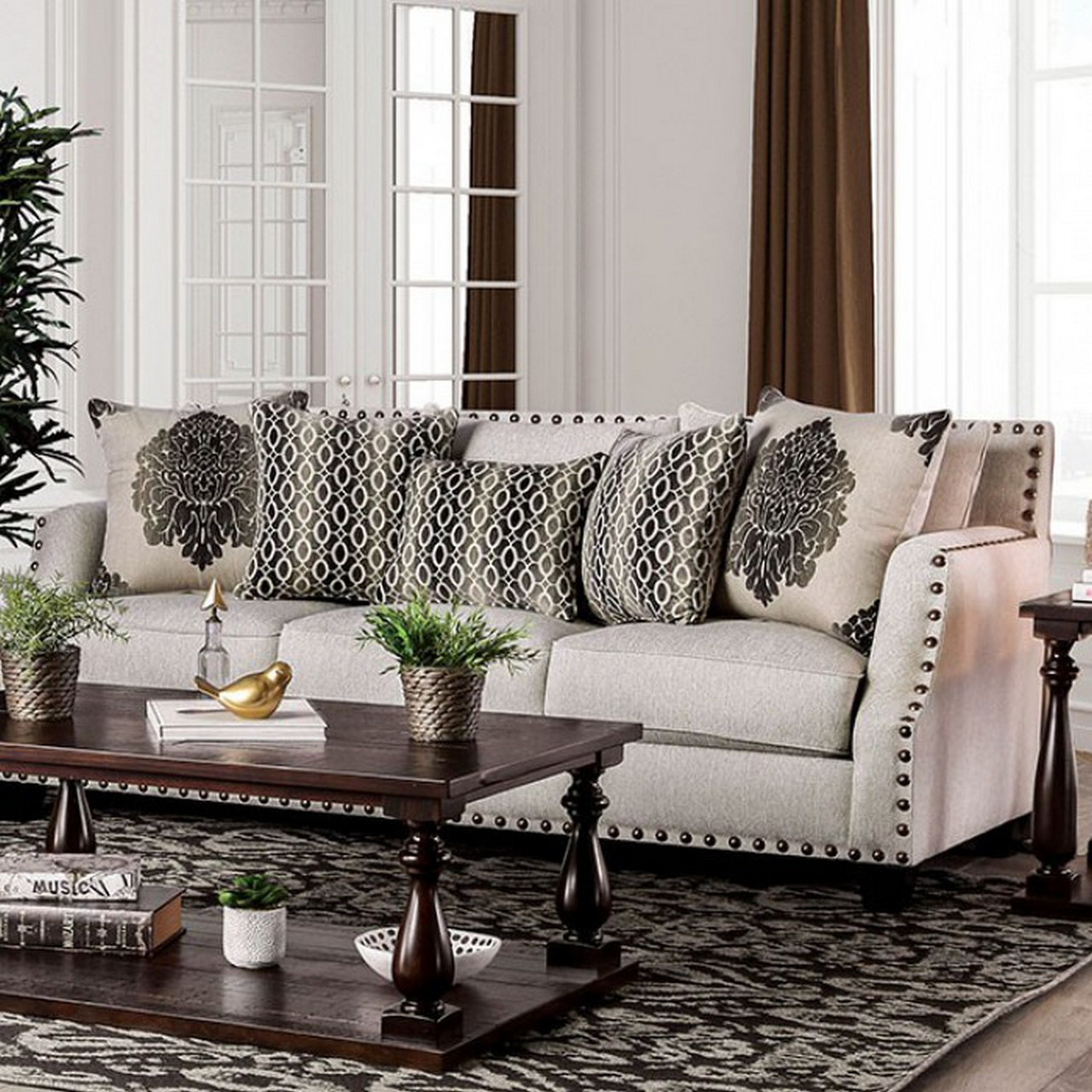 Cheapest Sofa Set: Bernadette Modern Beige Fabric Nailhead Sloped Arm Sofa
