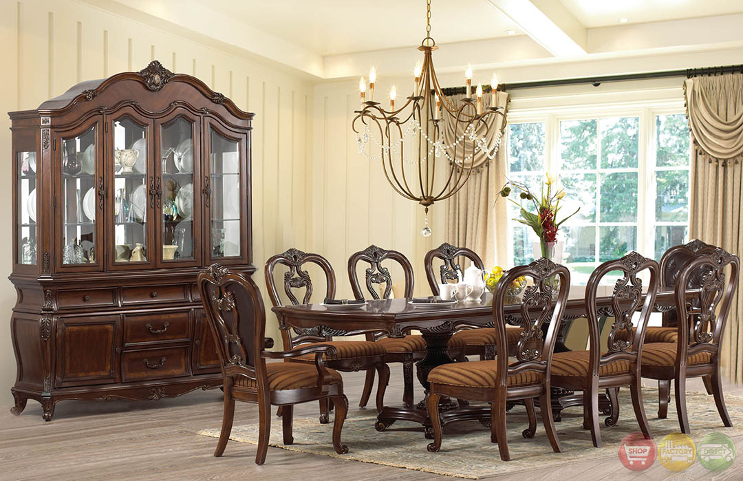 Wood Dining Buffet ~ Beth traditional dark wood formal dining set with buffet