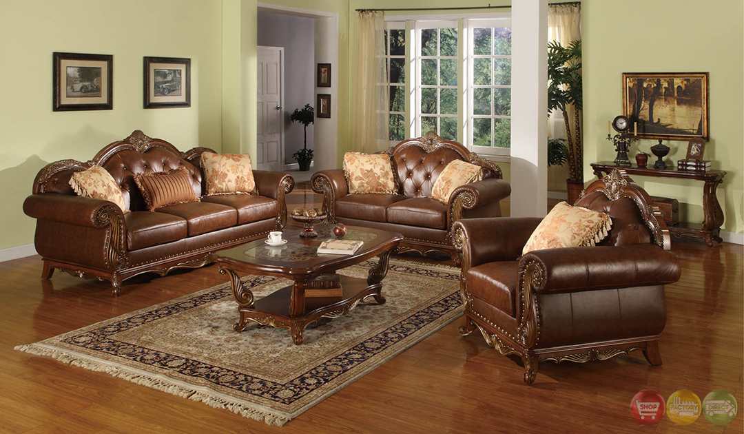 Beth traditional medium wood formal living room sets with for Traditional living room sets