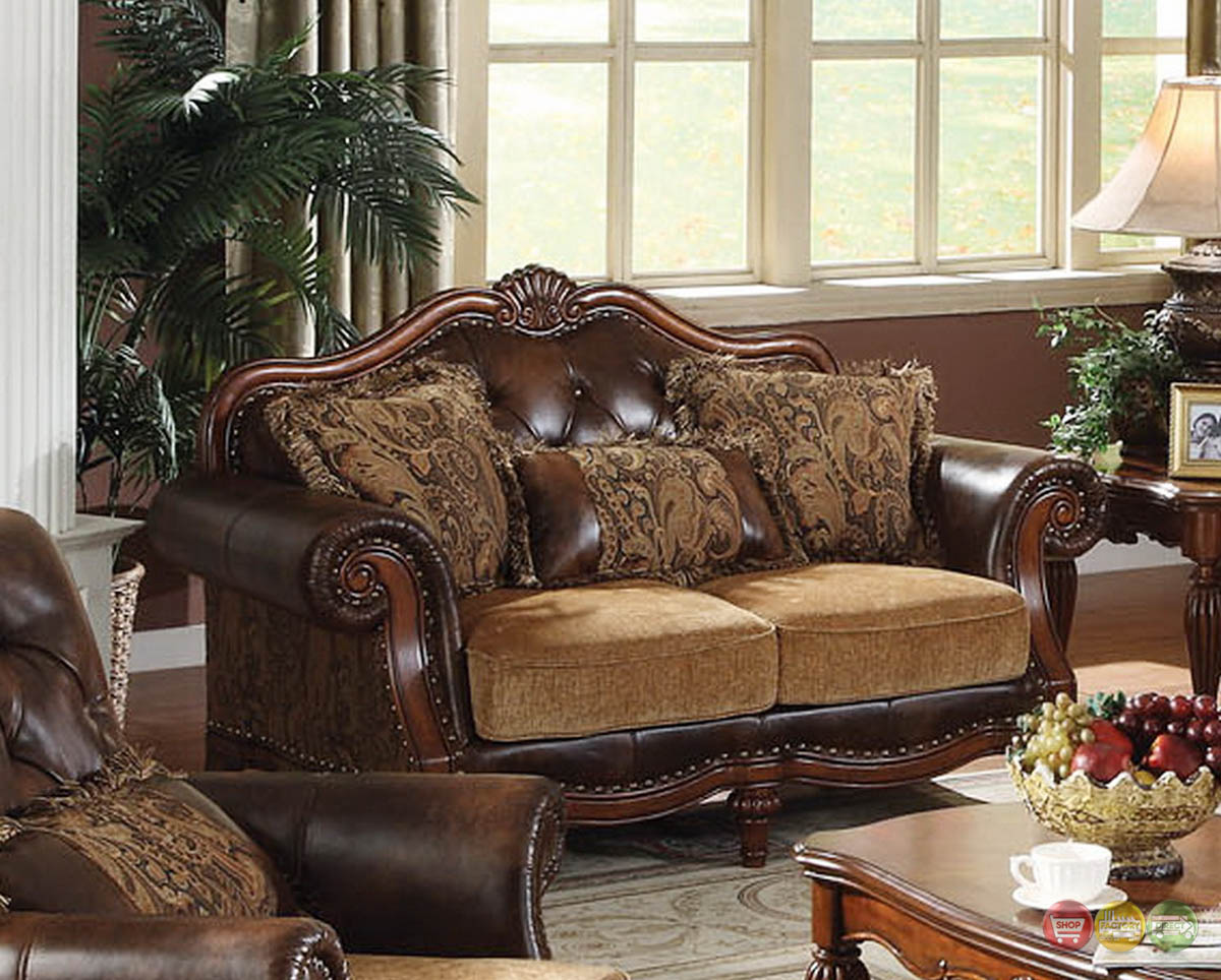 Dreena traditional formal living room set carved cherry for Wood living room furniture