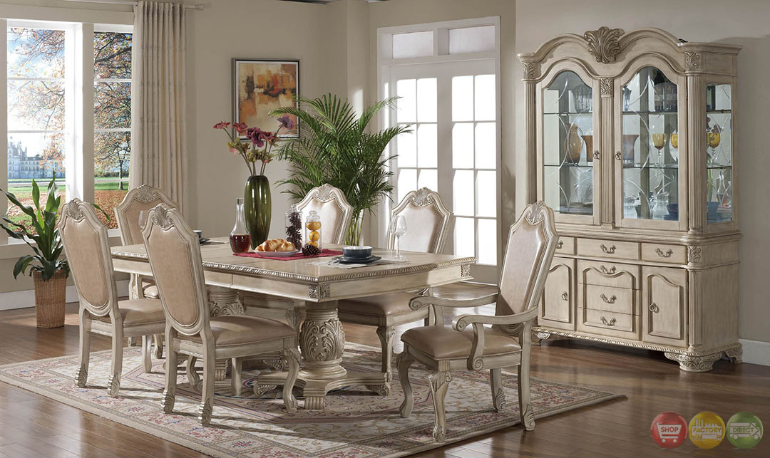 Betty antique traditional light wood formal dining set for Antique dining room sets