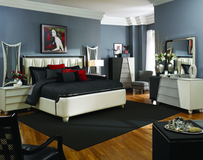Michael Amini Beverly Blvd Pearl Caviar Bedroom Furniture