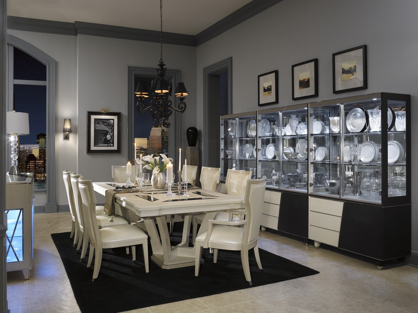 Michael amini beverly blvd pearl caviar formal dining room for Living room 6250 hollywood blvd