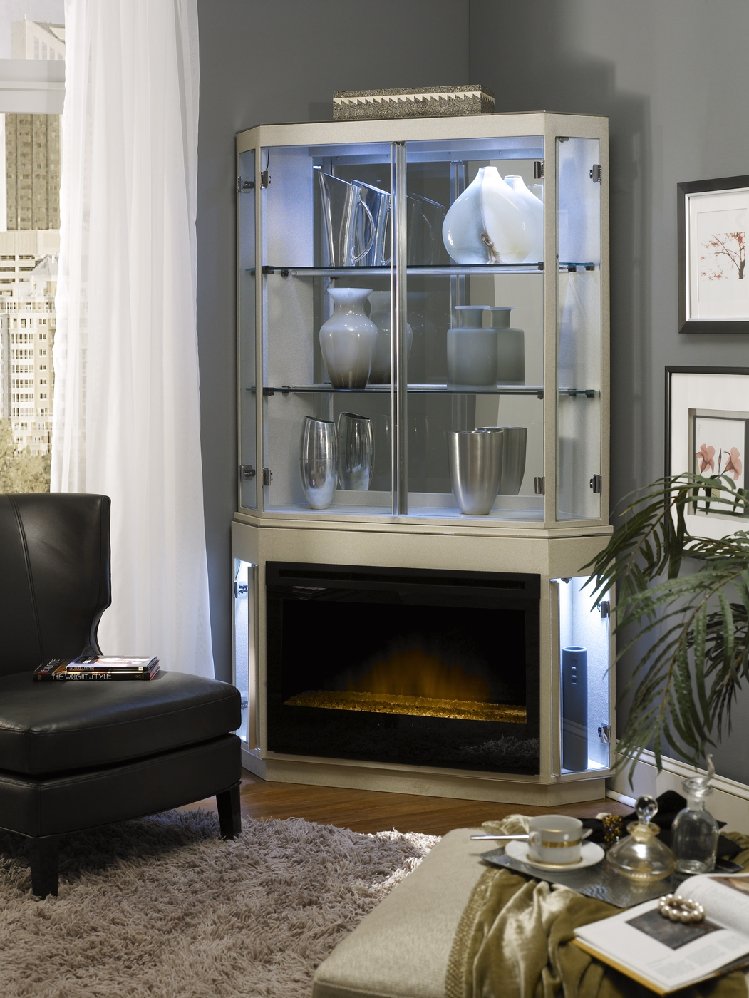 Michael Amini Beverly Blvd Pearl Caviar Fireplace W Curio