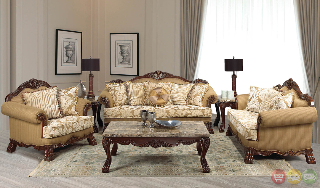 Beverly traditional dark wood formal living room sets with for Traditional living room sets