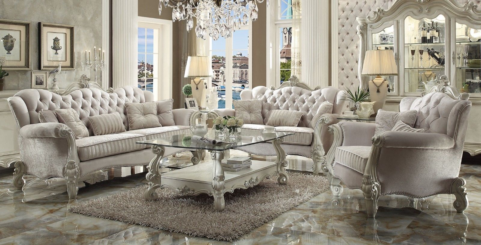 Versailles traditional ivory velvet formal living room set - White wooden living room furniture ...