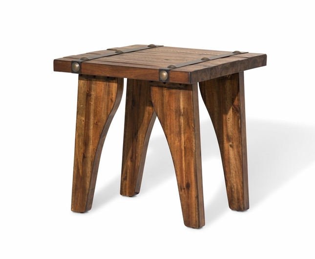 Big Sky Country Style Mahogany End Table With Metal Accent Strips