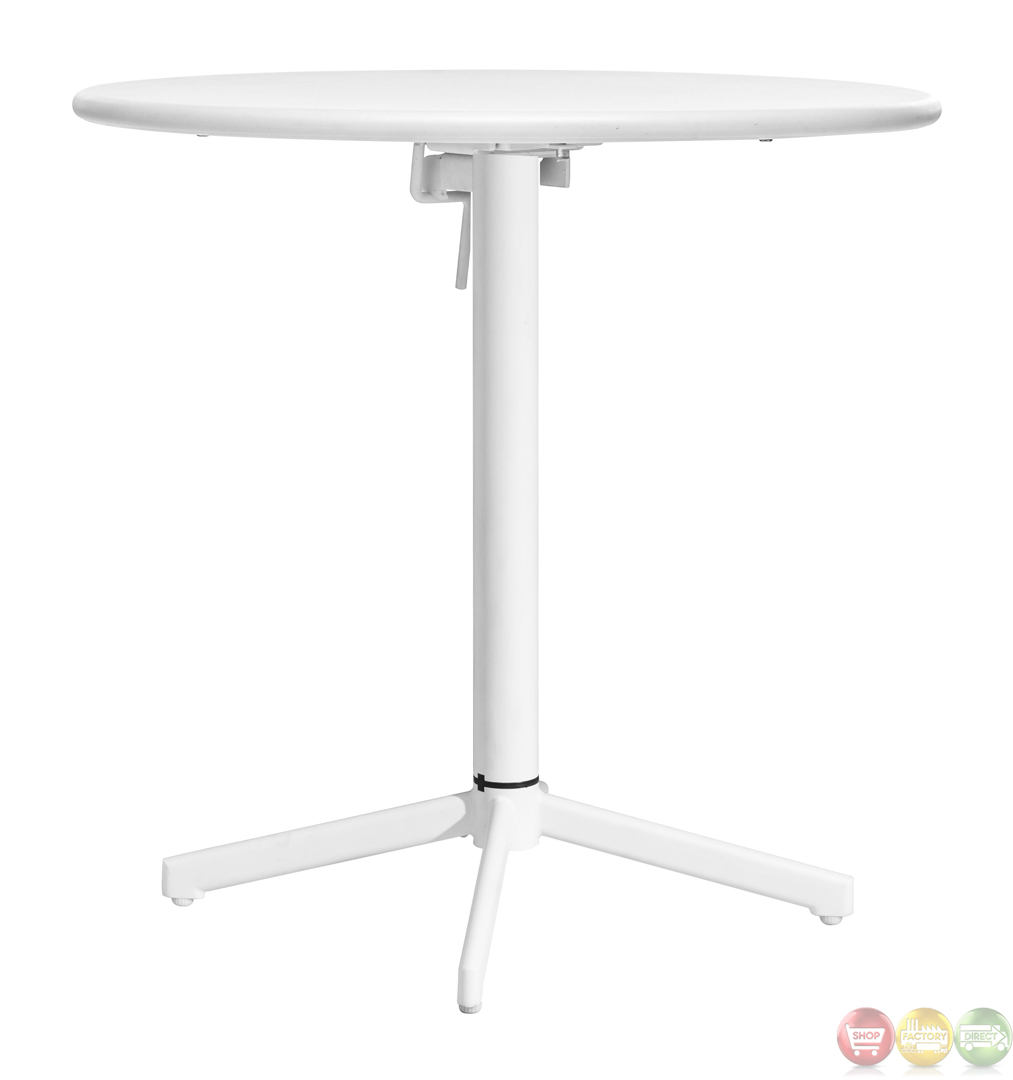 Big Wave White Round Folding Table Zuo Modern 703045