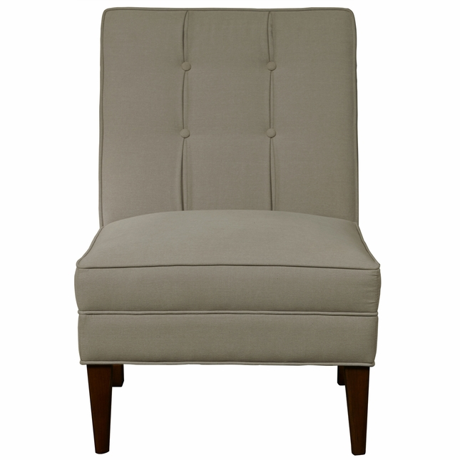 Biscayne Transitional Armless Button Back Accent Slipper Chair In Taupe  Fabric