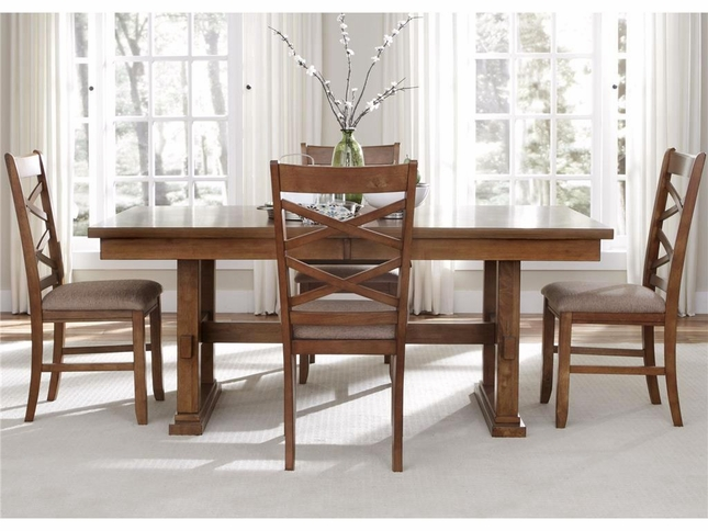 Bistro 5 Piece Trestle Table Set Casual Dining