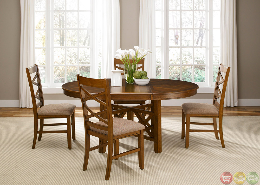 Bistro honey finish oval table casual dining furniture set for Informal dining table