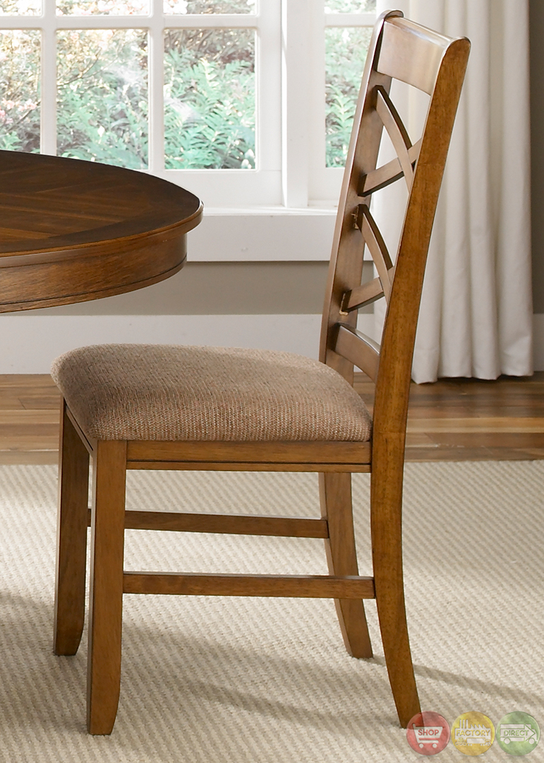 Bistro honey finish oval table casual dining furniture set for Casual dining furniture