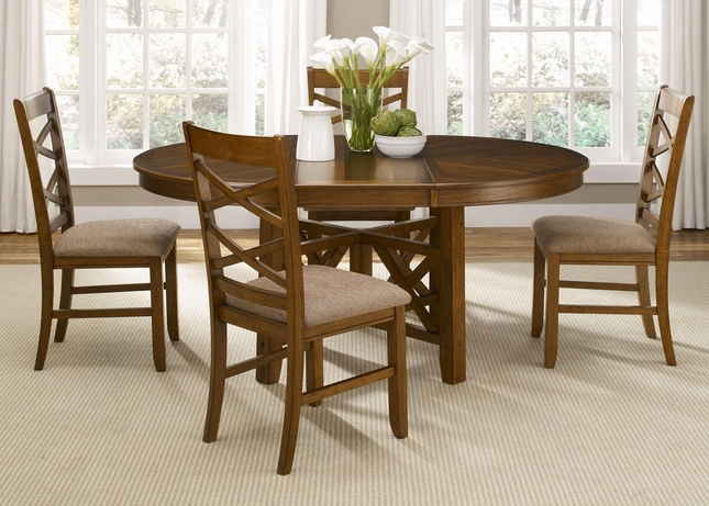 Bistro Honey Finish Oval Table Casual Dining Furniture Set