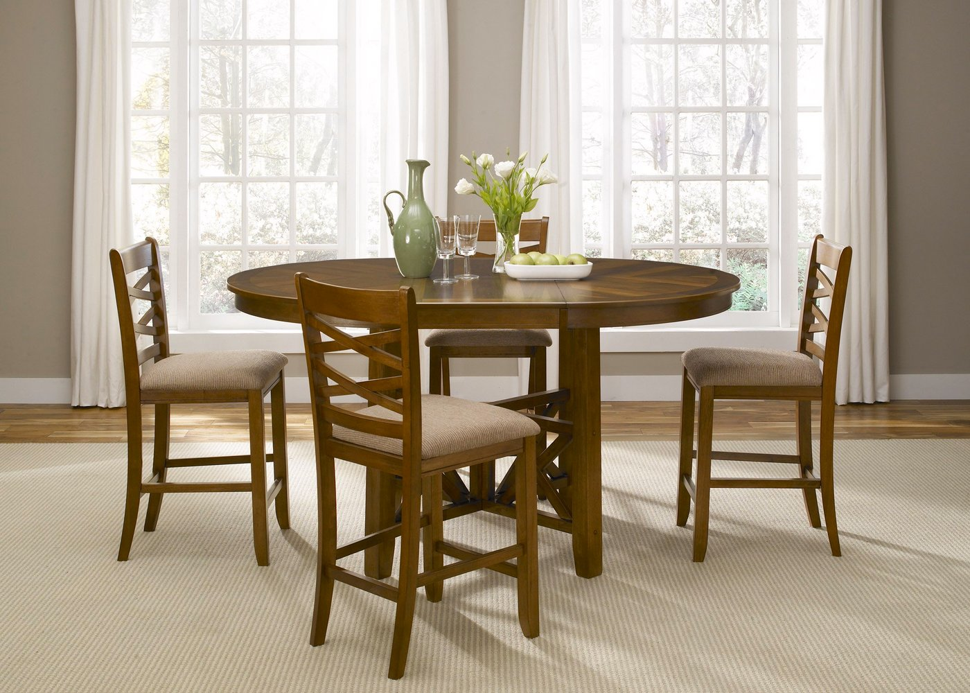 Bistro honey finish round counter height dining set for Round dining set