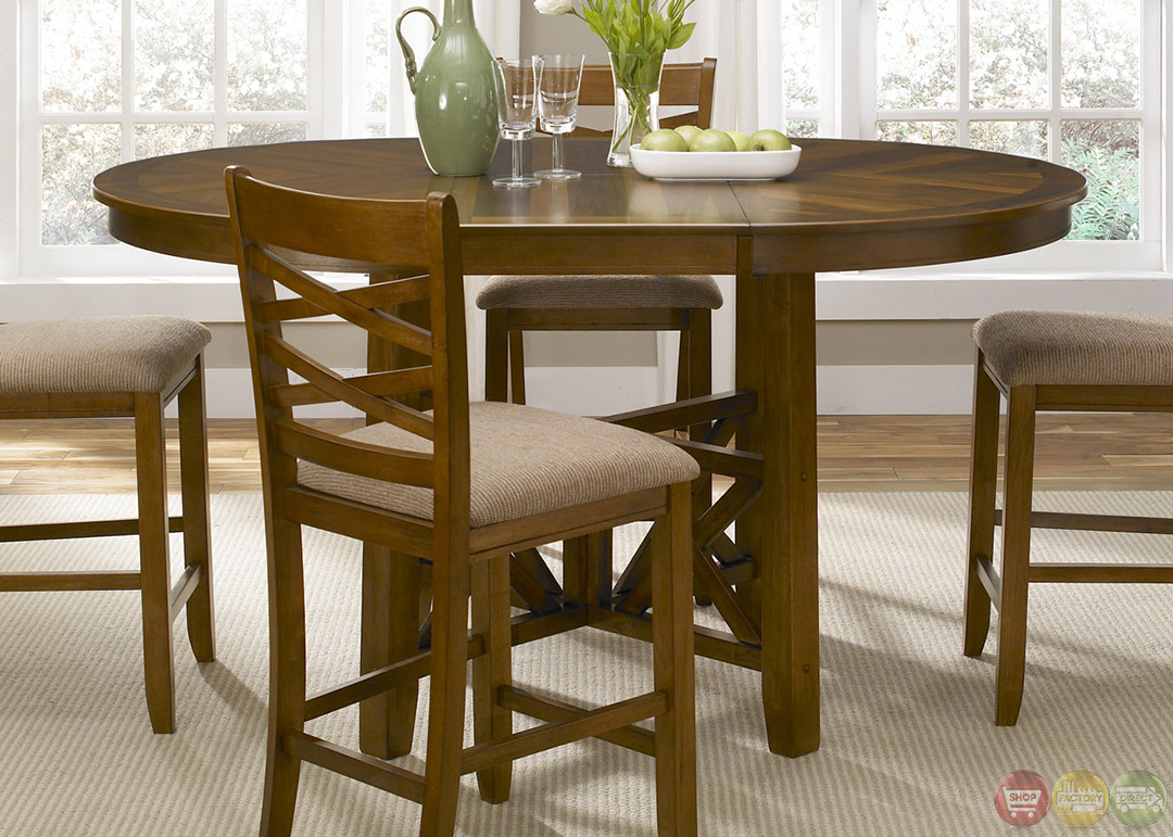 Bistro honey finish round counter height dining set for Counter height dining set