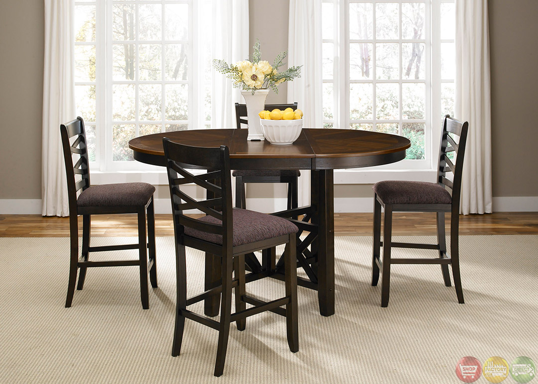 bistro two tone finish counter height casual dining set. Black Bedroom Furniture Sets. Home Design Ideas