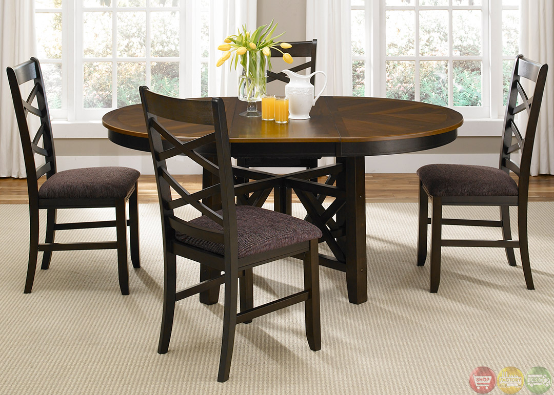 Bistro two tone oval casual dining furniture set for Casual dining table set