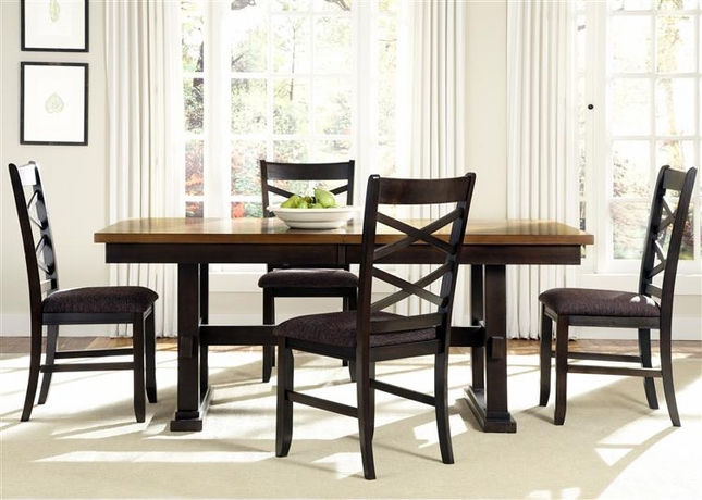 Bistro Two Tone Rectangular Casual Dining Furniture Set