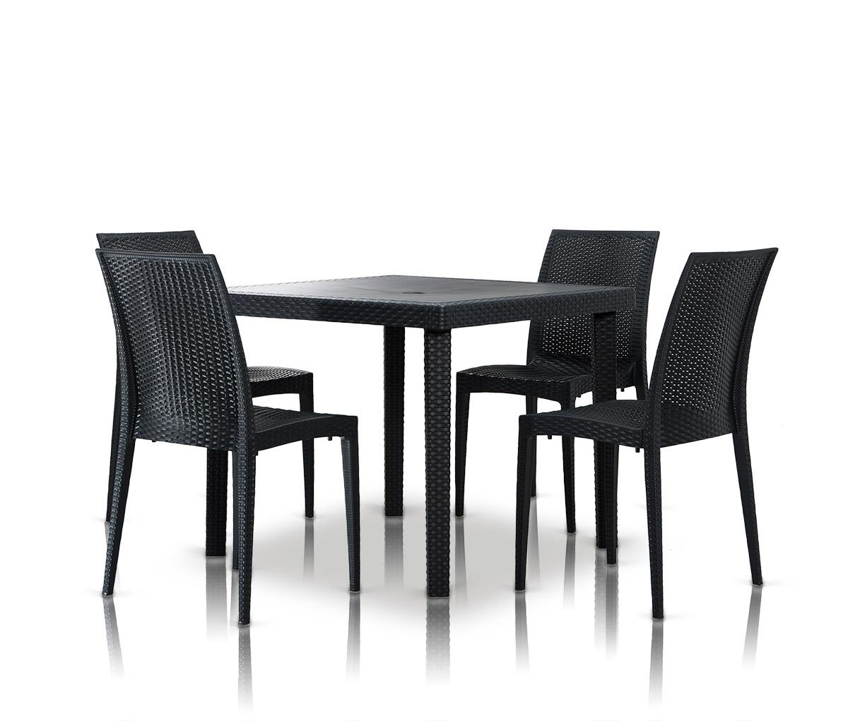 bistrot modern square dining table set. Black Bedroom Furniture Sets. Home Design Ideas