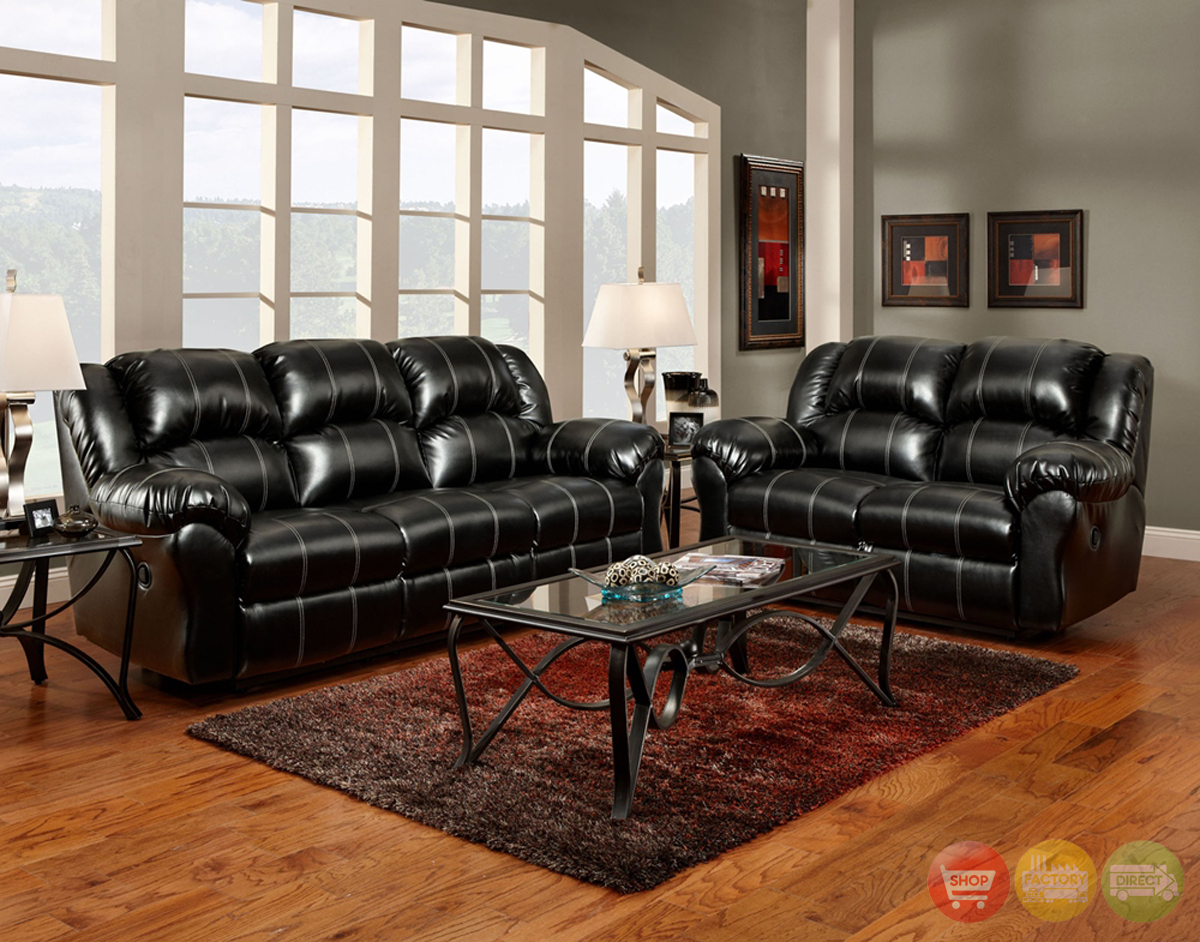 Black bonded leather casual motion sofa set living room for Black living room furniture sets