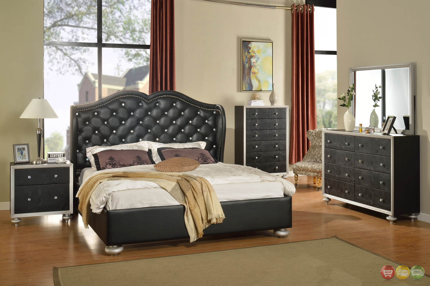 black button tufted wing back bed faux croc bedroom furniture set. Black Bedroom Furniture Sets. Home Design Ideas