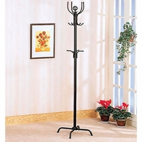 Black Contemporary Coat Rack With Additional Hooks