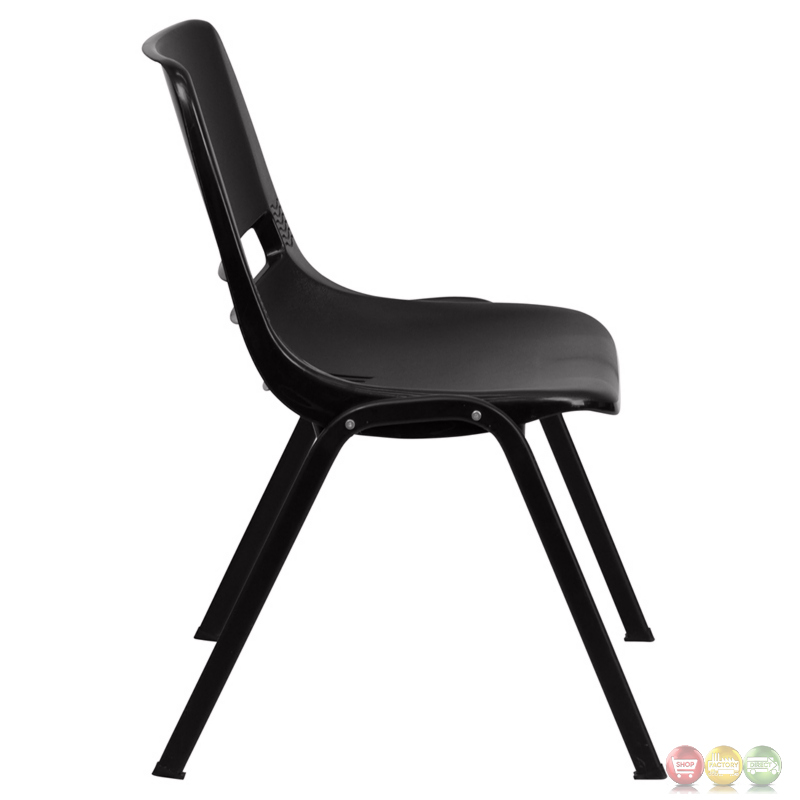 Black Ergonomic Shell Stacking Chair With Black Frame And