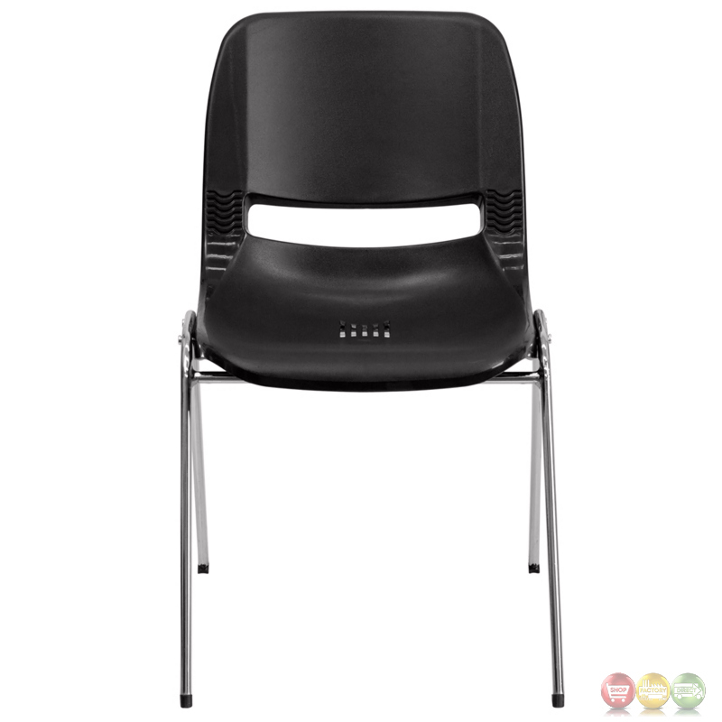 black ergonomic shell stacking chair with chrome frame and 16 inch seat height rut 16 bk chr gg. Black Bedroom Furniture Sets. Home Design Ideas