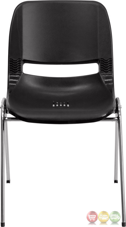 black ergonomic shell stacking chair with chrome frame and 18 inch seat height rut 18 bk chr gg. Black Bedroom Furniture Sets. Home Design Ideas