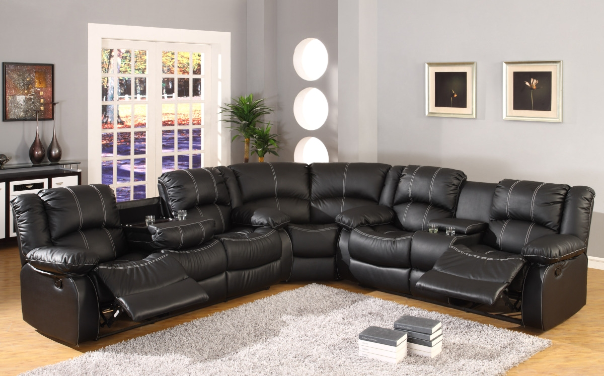 black faux leather reclining motion sectional sofa w storage console. Black Bedroom Furniture Sets. Home Design Ideas