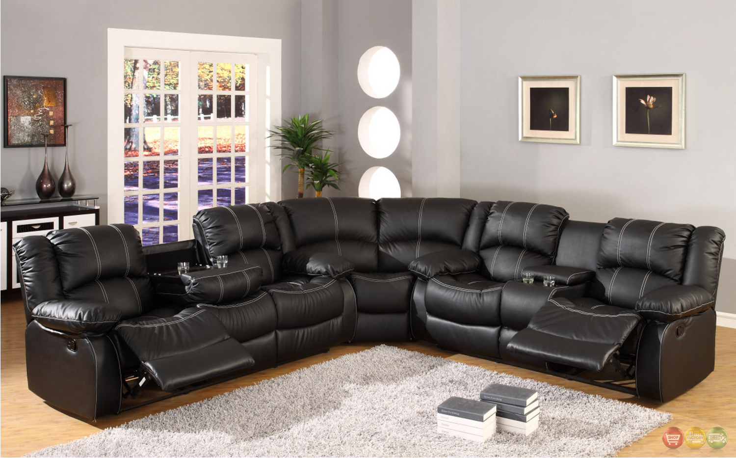 Black Faux Leather Reclining Motion Sectional Sofa W Storage Console