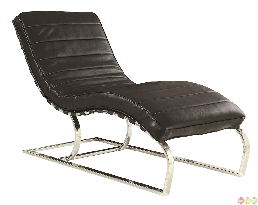 Black Faux Leather Chair: Black Faux Leather Upholstery Chaise Lounge Accent Chair