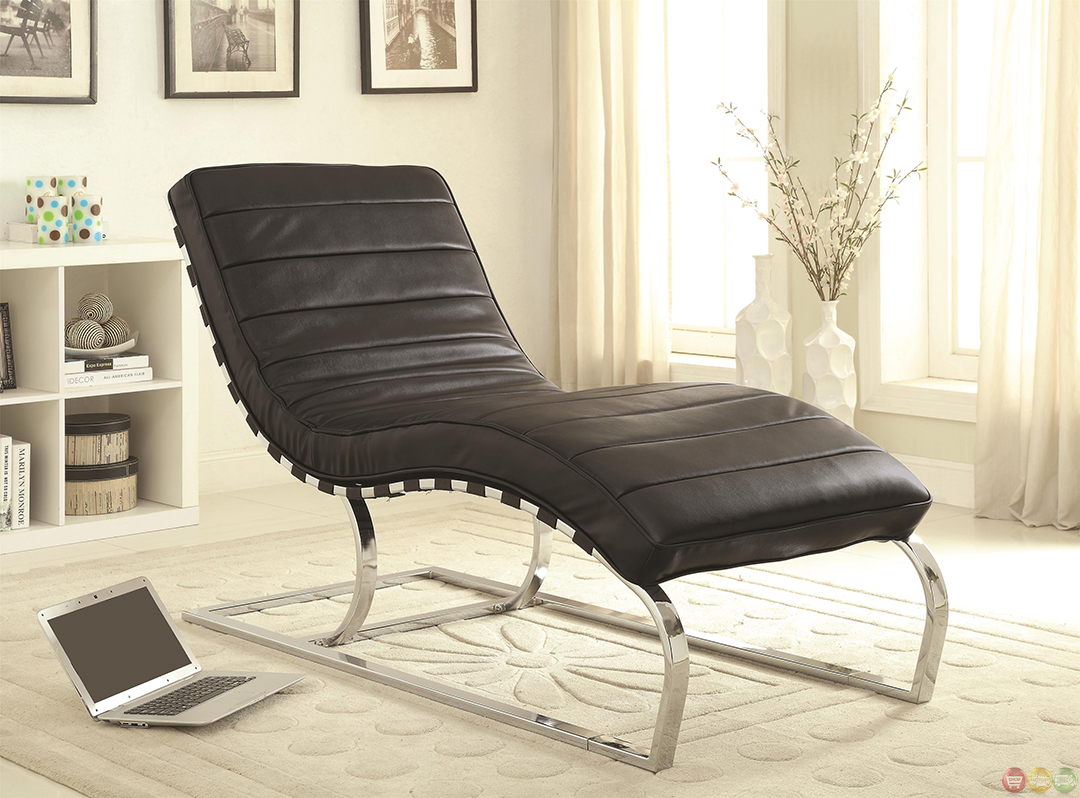 Black faux leather upholstery chaise lounge accent chair for Chaise lounge black leather