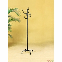 Black Finish Metal 8 Hook Traditional Style Coat Rack