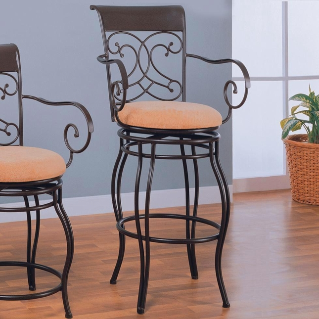Black Finish Transitional Style Upholstery Bar Stool