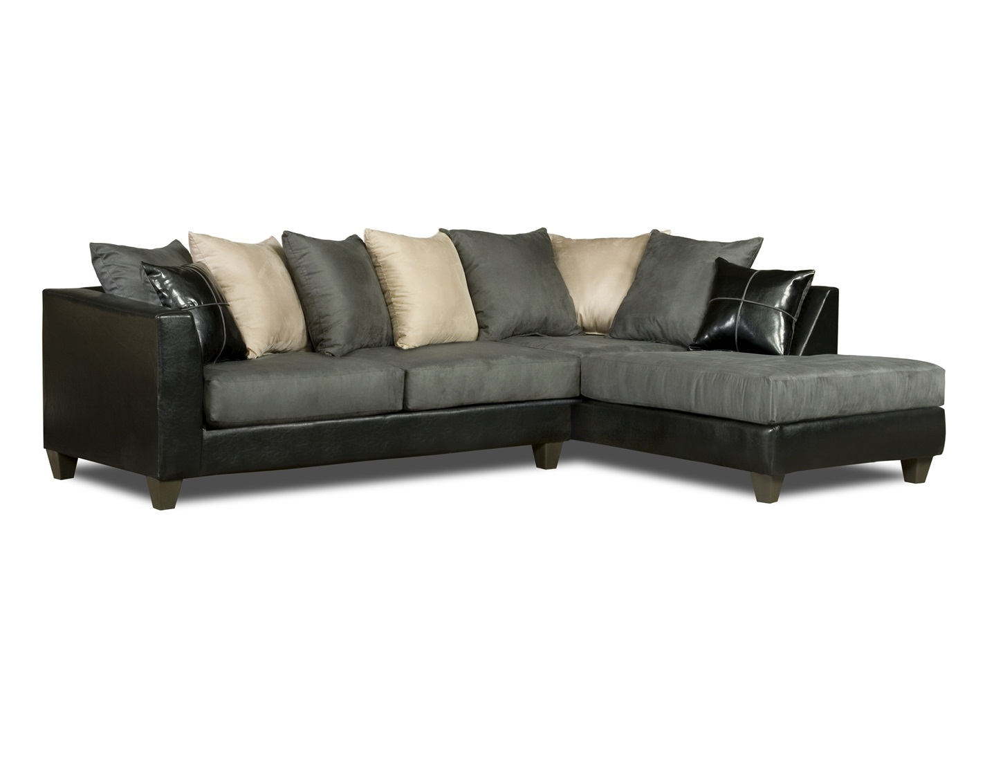 Dark grey microfiber sectional sofa with chaise for Black and silver chaise lounge