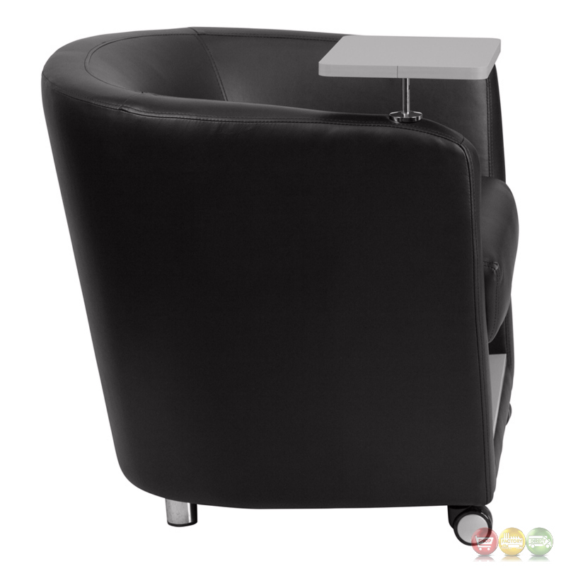 Cargo Seat Arm Rest : Black leather guest chair w tablet arm front wheels