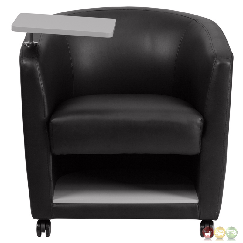 Black Leather Guest Chair W Tablet Arm Front Wheels