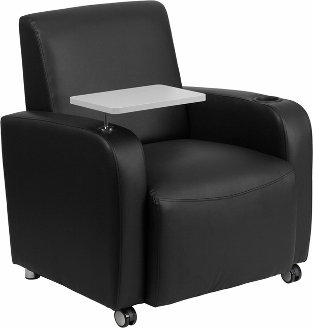 Black Leather Guest Chair With Tablet Arm, Front Wheel Casters And Cup Holder
