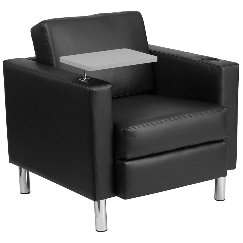 Black Leather Guest Chair With Tablet Arm Tall Chrome