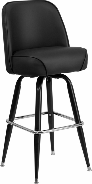 Black Metal Barstool With Swivel Bucket Vinyl Seat