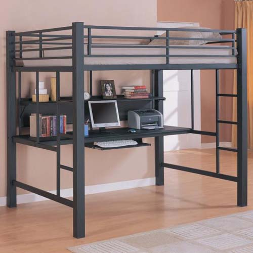 Black Metal Full Size Workstation Desk Loft Bunk Bed