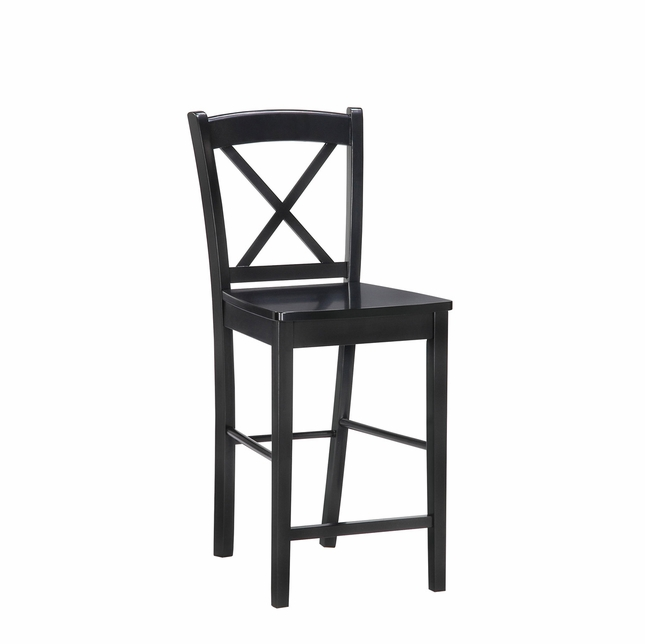 Black Finish X Back Wooden Bar Height Stool