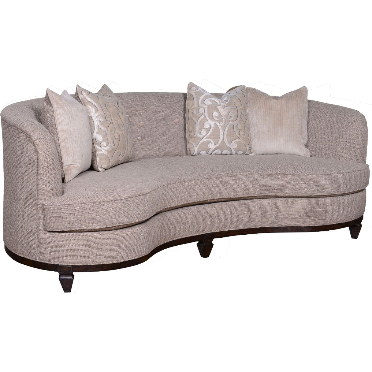 Blair fawn transitional 84 inch long kidney shaped sofa w for Sofa 84 inch
