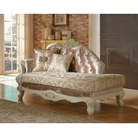 Blake Pearl White Traditional Chaise Lounge With Crystal Tufted Back