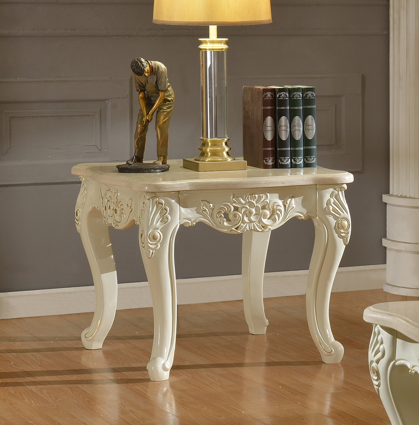 Blake Pearl White Traditional Marble End Table With Gold