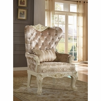 Blake Pearl White Traditional Wing Chair With Crystal Tufted Back