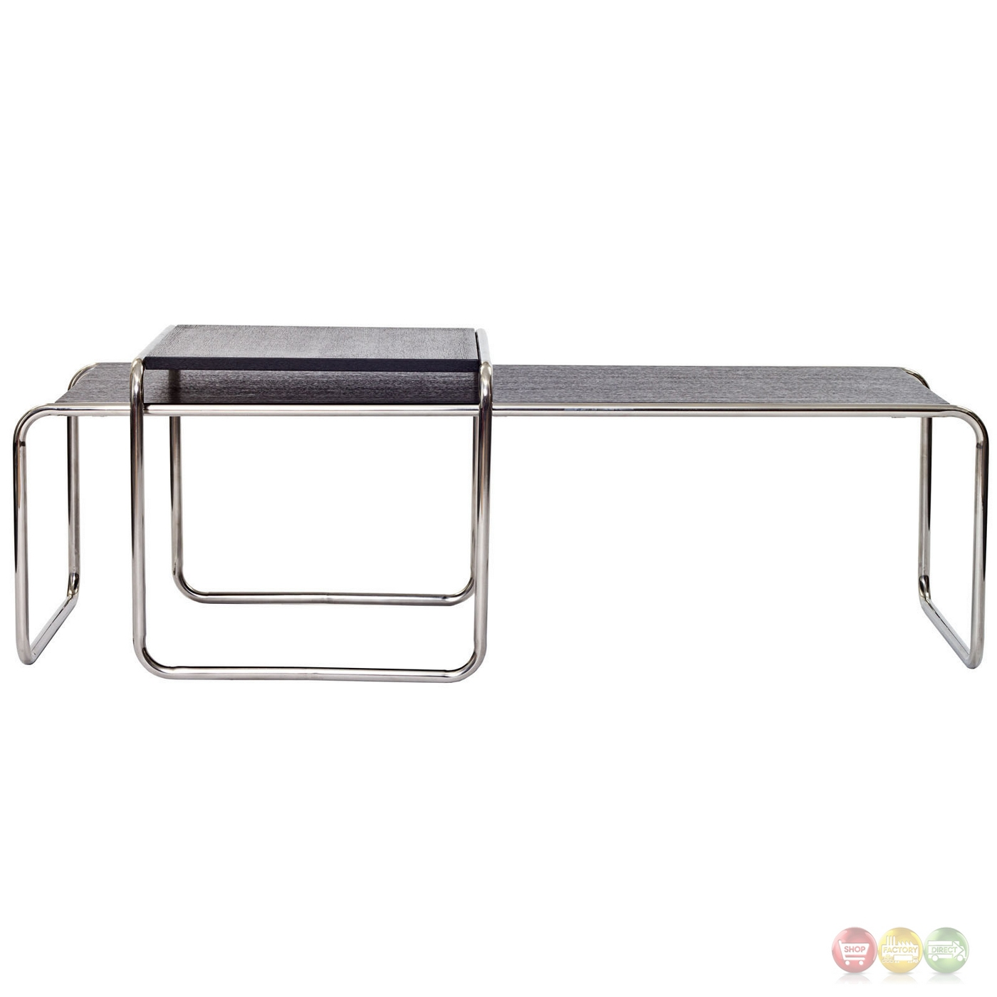 Chrome Coffee Table With Wood Top